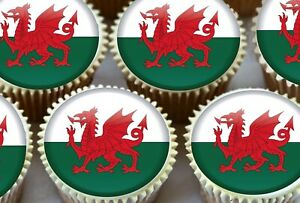 EDIBLE ICING SHEET - 24 X WELSH WALES FLAG CUPCAKE TOPPERS OLYMPICS CAKE PARTY