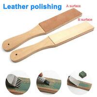 Dual Sided Leather Blade Strop Cutter Razor Sharpener Polishing Wooden Handle
