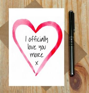 I officially love you more card - hearts love card - cute Valentine's Day card