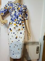 NEW L.K.BENNETT DR DEVRA FLORAL DRESS UK 6 US 2 ORANGE BLUE WHITE 100% COTTON