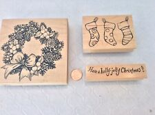 "Rubber Stamps Christmas: Large Wreath, Stockings, ""Have A Holly Jolly Christmas"""