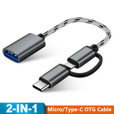 Nylon Braid OTG Cable 2 in 1 Adapter Micro USB/Type-C to USB 3.0 Male to Female