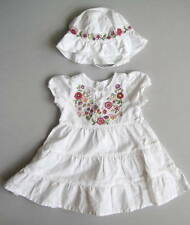 Baby Gap Girls 12 18 Mo Embroidered Floral Tiered Dress & Hat EUC Ivory Classic