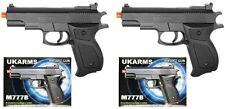 "2X 6"" Black Plastic Airsoft Pistol Handgun Gun w/BB 105fps Air Soft M777B UK ARM"