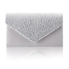 Women Satin Diamante Bag Evening Bridal Ladies Clutch Handbag Wedding Prom 04 Silver