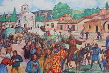C665 Affiche Scolaire vintage Croisade Vie au château fort école 11 12 Rossignol