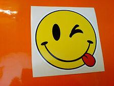 CHEEKY SMILEY EMOJI Car Bumper Van Motorcycle Camper Sticker Decal 1 off 100mm