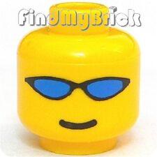 H339A Lego Extreme Team Minifigure Head Blue Wrap Sunglasses & Smile Pattern NEW