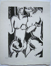 Ossip Zadkine Zwei Gestalten Orig Holzschnitt ca. 1960 im Stock signiert