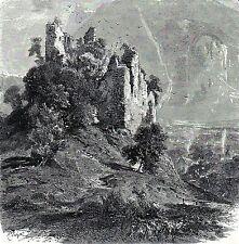 Antique print stich burg Attinghausen kanton Uri Switzerland 1881