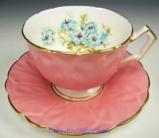 AYNSLEY HAND PAINTED FLOWER & RIBBON TEA CUP AND SAUCER