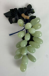 Vintage Chinese Jade Grapes stone fruit Hollywood Regency *R1SD#19*