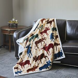 MOOSE Collection Soft Cozy Chair Couch Flannel Sherpa Throw Blanket 50 x 60 inch