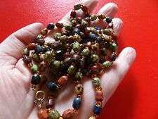 MID CENTURY GLASS 'FAUX AGATE' LONG FLAPPER LENGTH MULTICOLOURED  NECKLACE   37