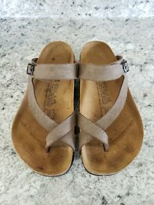 Birkenstock Birkis Lennox Mocha Sheen Birko Flor Sandals Size 37 US 6-6.5