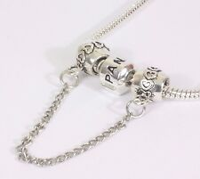 Silver Plated love pattern safety chain 4 European charm bracelet + gift box