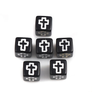 Cross Beads Square Christian Bead Black Bead White Etched Cross 6 mm Plastic 978