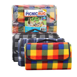 Jumbo Picnic Rug Red 2m x1.5m Suits 3-4 People - Red / Yellow