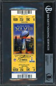 Russell Wilson Autographed Signed Super Bowl Ticket Gem 10 Auto Beckett 12516873