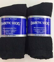 12 Pair Black Cotton Diabetic Crew Socks Size 9-11 Proudly Made In The USA!!!