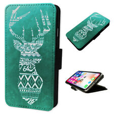 Aztec Stag Art Green - Flip Phone Case Wallet Cover Fits Iphone 5 6 7 8 X 11