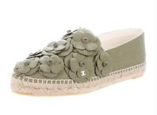 NIB Chanel 17C Khaki Green Canvas CC Camellia Flower Espadrille Slide Flats 38