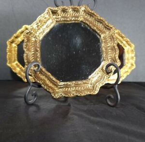 """Three 6"""" Art Deco Mirrors in Gold Colored Octagon Frames"""