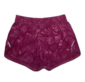Athleta Racer Run Shorts sz M Medium Purple Floral EUC!