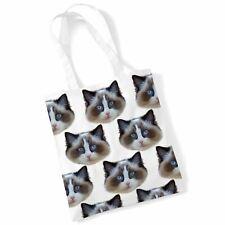 Cat Tote Print Bag - Ragdoll Cat Shopping Shoulder Bag Gifts