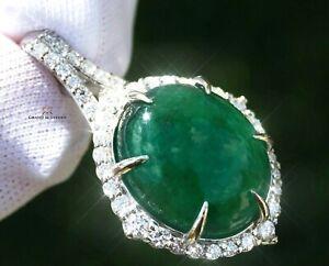 Emerald Pendant Gold Necklace Diamond Natural 17.37CTW GIA Certif RETAIL $14100