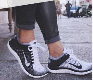 NEW WOMENS 7 NIKE FREE 4.0 FLYKNIT RUNNING SHOES BLACK WHITE ORCA 631050 100