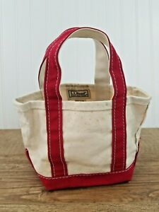 """LL Bean Boat & Tote Small Mini 100 Years Red Ivory 10"""" x 7"""" x 5"""" Maine Made USA"""