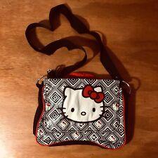 Hello Kitty Sanrio Girls Black Plastic Shoulder Bag Adjustable Straps Red Inside