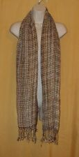 Feather weight women's brown ivory fringed cotton blend neck scarf wrap O/S $55