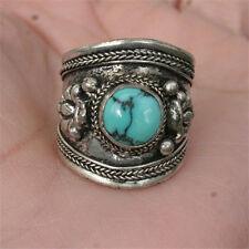 Wide Adjustable Tibetan Round Turquoise Gemstone Carved Dorje Dotted Amulet Ring