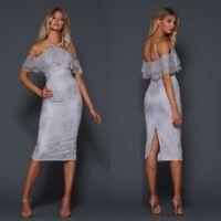 Elle Zeitoune Designer Womens Midi Blue Lace Cocktail Dress Off The Shoulder