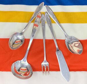 """5 Pc Community Silver Plate MONO """"E"""" Adam Gravy Pickle Fork Sugar Jelly Butter"""