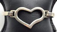 Vintage Oxidized Sterling Silver 925 Heart Swirl Curved Love Bangle Bracelet