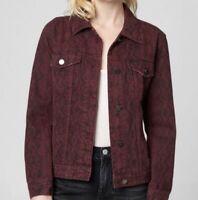 Blank NYC Snakeskin Trucker Jean Jacket Denim Button Up Red Womens Size XL NWT