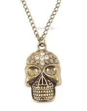 Vintage Bronze Gothic Skull Crystal Necklace