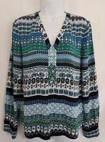Womens Diane Von Furstenberg Blue Aztec Silk Spandex Loose Blouse Top 8 New.
