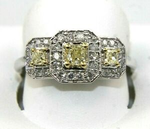 Canary Yellow Princess Diamond Triple Solitaire Square Ring 14k White Gold .75Ct