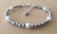 Silver Plated, Friendship Bracelet White Shell Pearl+Silver Hematite Beads,