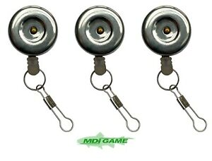 Pack of 3 MDI Anglers Stainless Steel Pin-on Retractor Fishing Zinger with Clip