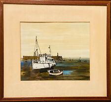 ANCIEN Tableau Bateau Chalutier Marine DUMONT Boat Ship Seascape Picture Marina