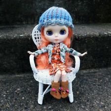 Blue - Tan Knitted Beanie for Blythe - Ribbed Brim Loom Knit Doll Hat - Ooak
