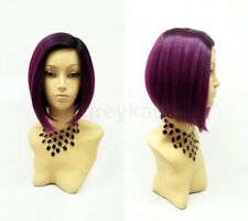 Lace Front Straight Purple Bob Wig Heat Resistant Dark Roots Side Part Short