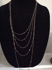 $39.99 Ann Taylor Multi Layer Fine Gold Tone Chain Necklace #218