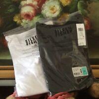 NWT 2 PC Eileen Fisher B/W ORGANIC COTTON SLUB 3/4 SLEEVE TOP Shirt Tee size PP