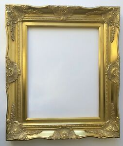 """Picture Frame- 12x16"""" Ornate- Baroque Gold Color- Wood/Gesso- 6996G"""